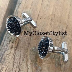 Vintage NEW Men's Steampunk Cufflinks Silver Black